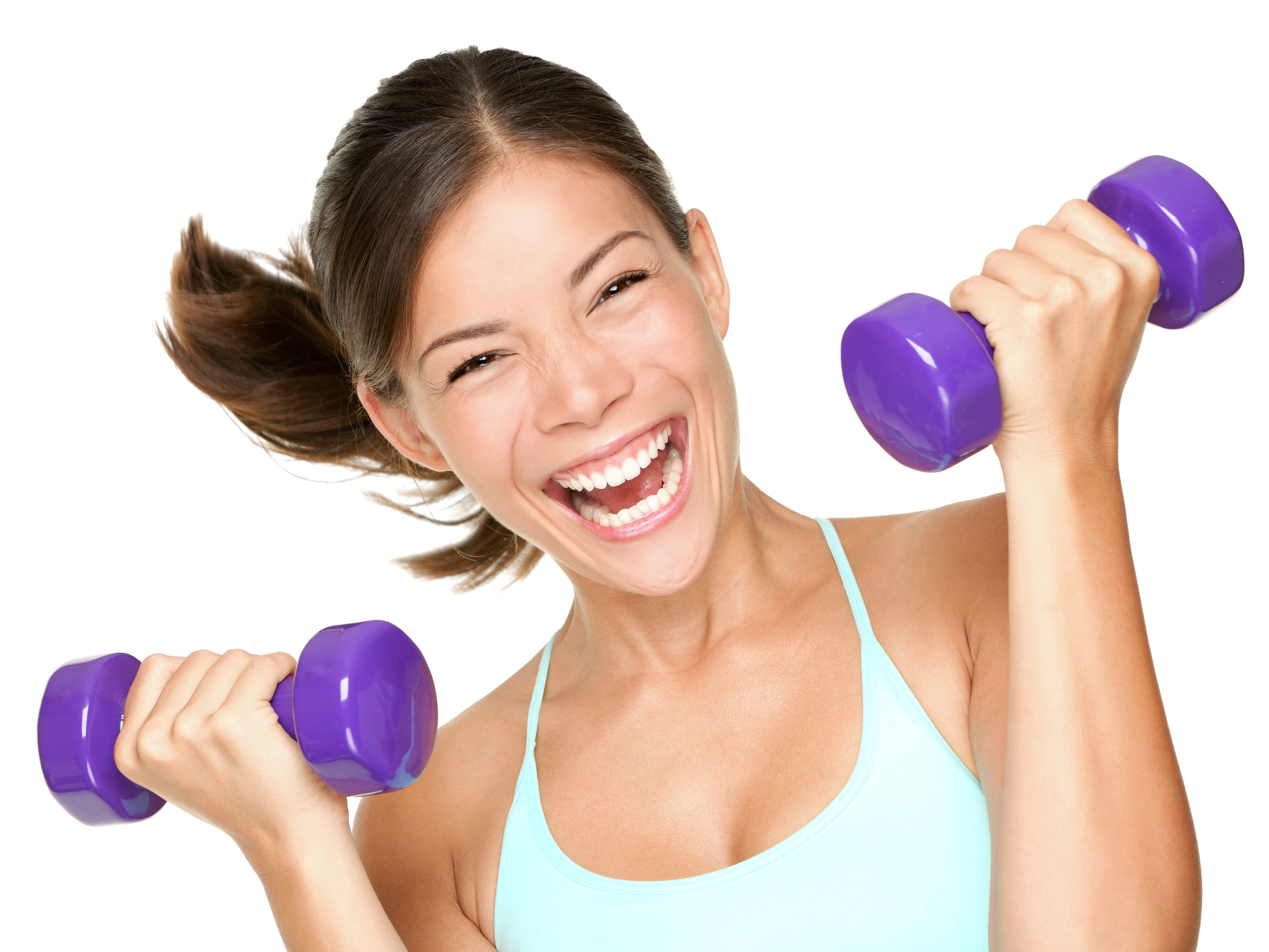 happy-fitness-woman-lifting-dumbbells